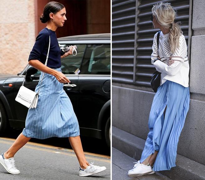 falda y zapatillas