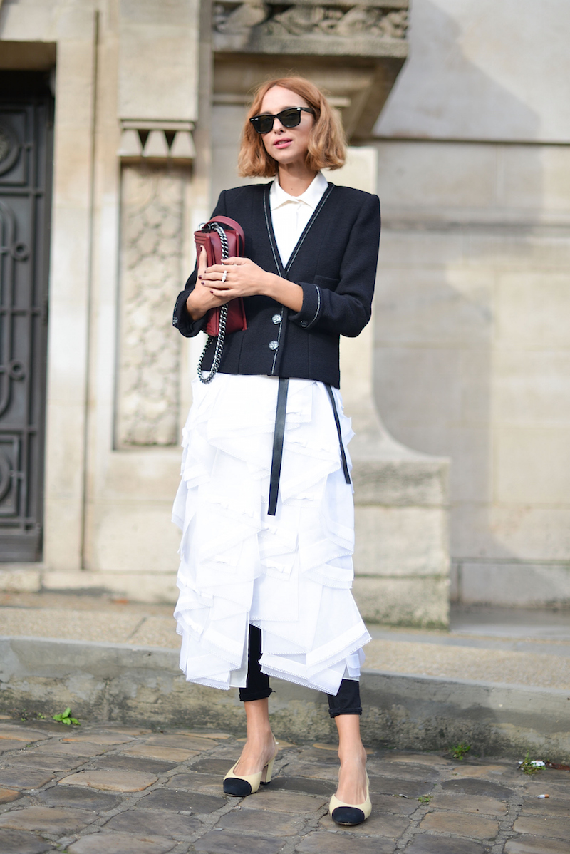 PARIS, FRANCE - OCTOBER 06: Candela Novembre poses wearing Chanel before the Chanel show at the Grand Palais during Paris Fashion Week SS16 on October 6, 2015 in Paris, France.  (Photo by Vanni Bassetti/Getty Images)