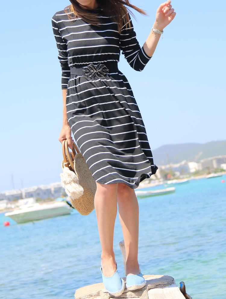 CorsetWe Elegant Black Women Long Sleeve Stripe Casual Dress